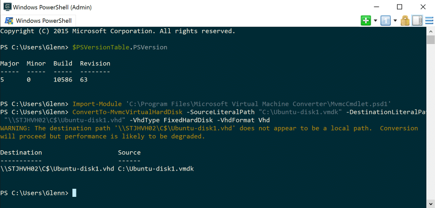 Convert VMware VMDK files into Hyper-V VHD using PowerShell