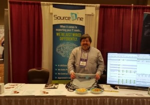 Patrick at Brainstorm k20 on the Source One Technology stand
