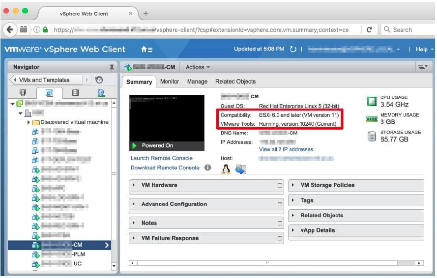 How to Upgrade VMware tools and hardware for Cisco virtual servers