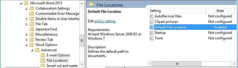 Setting the default file location for attachments in