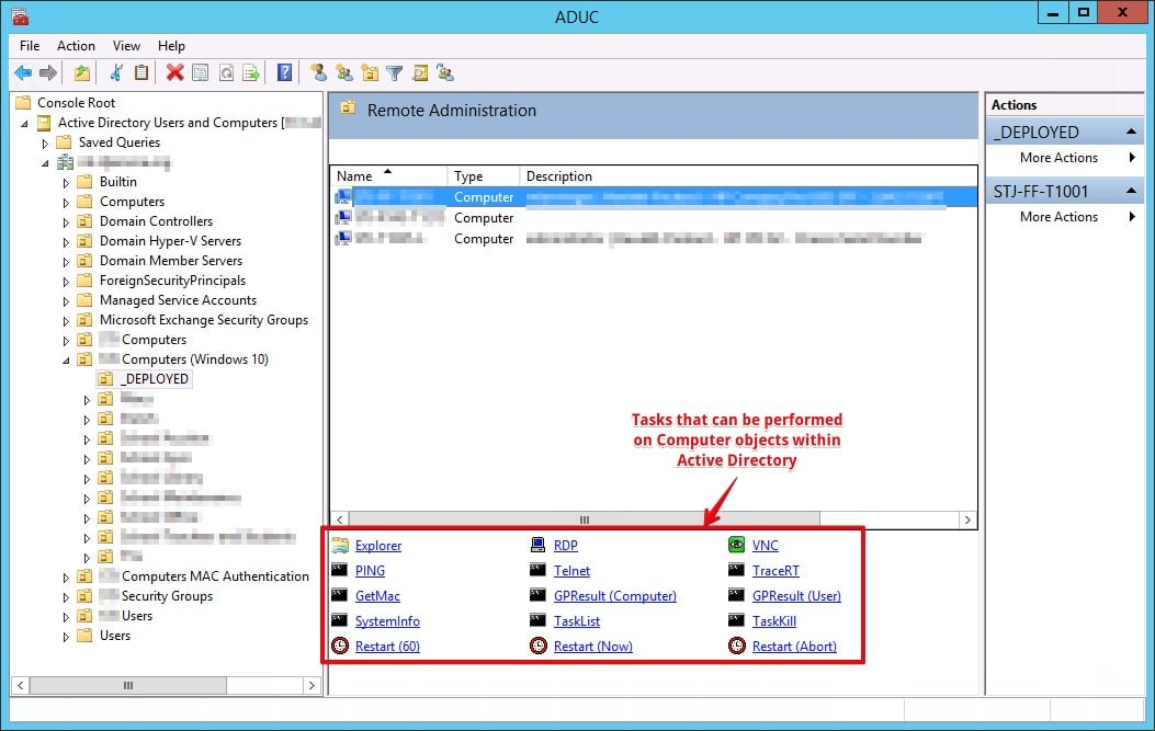 Taskpad View example inside Active Directory Users and Computers console