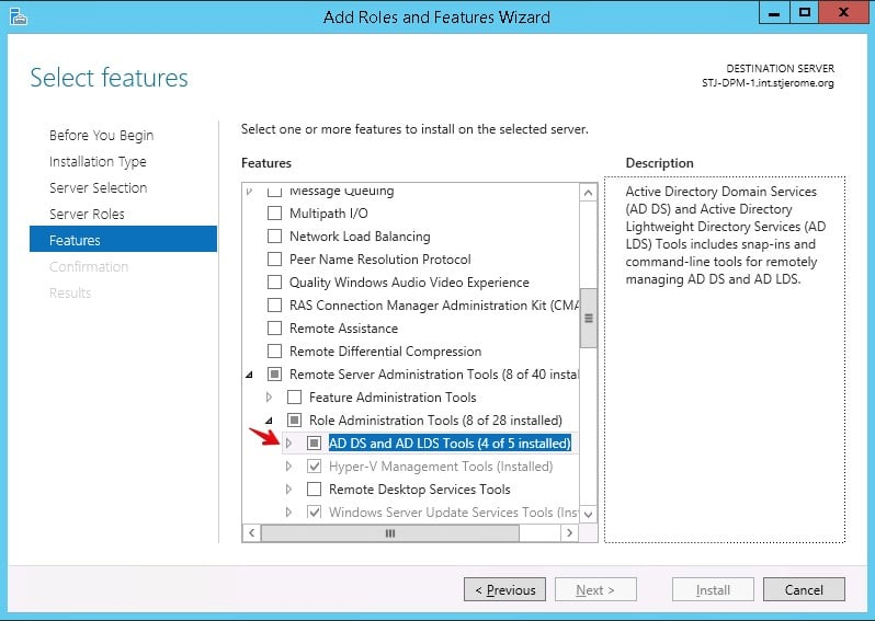 Active Directory Add Role and Features Wizard