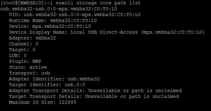 VMware core dump drive check
