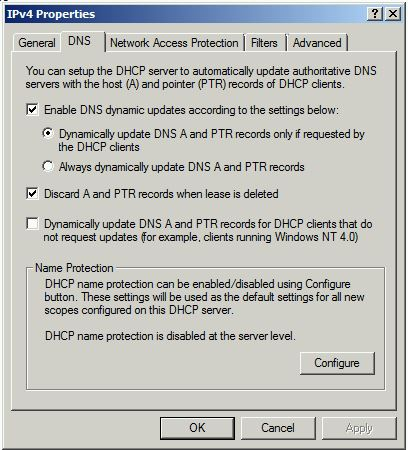 DNS scavenging: DHCP properties screenshot