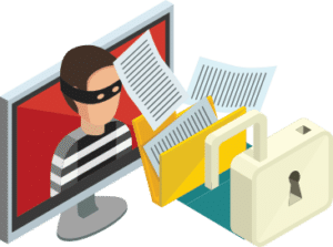 Thief hacking security and stealing files online