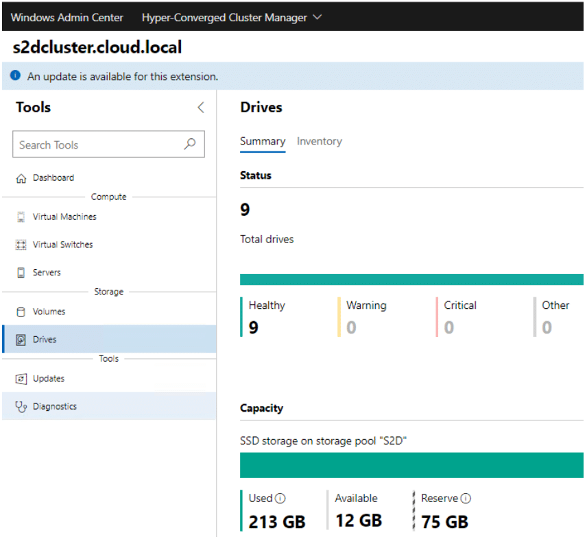 Viewing the disk health in a Storage Spaces Direct cluster