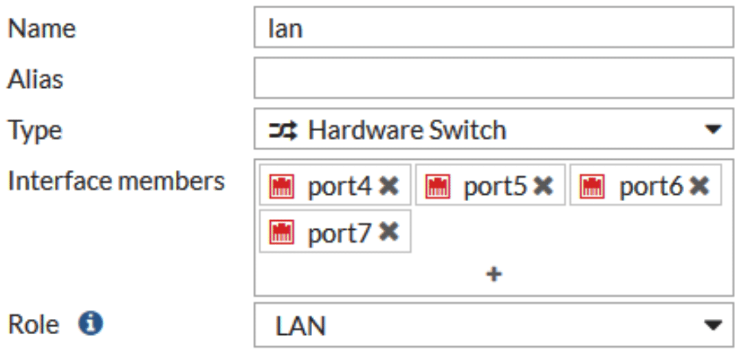 Removing ports from the hardware switch interface
