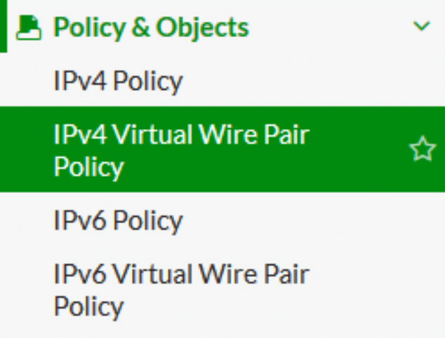 Virtual wire pair policies